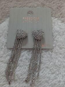 Topshop Freedom Heart Drop Diamanté Earrings