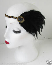Black and Gold Vintage Feather Headpiece 1920s Flapper Headband Great Gatsby k46