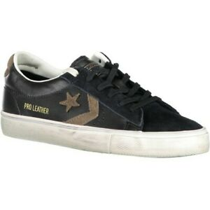 Converse Mens Cons Pro Leather Vulc Ox Leather Black Distressed Lace Up Trainers
