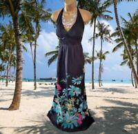 MONSOON* STUNNING COLOURFUL FLORAL DESIGN HALTER NECK MAXI EVENING DRESS UK 18