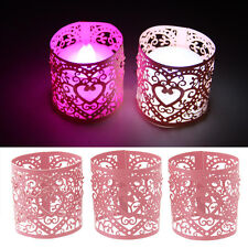 Pink 6 pcs Wedding Hollow Love Heart Candle Lampshade Decor Pink Lamp Shade.UAU