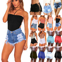 Womens Summer Casual High Waisted Denim Mini Shorts Jeans Hot Pants Trousers