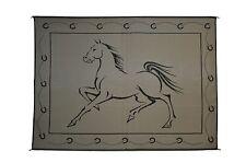 Horse/ Patio mat RV Beach Camping Outdoor  Mat Horse 9' x 12' Black/Beige 219121