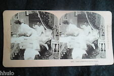 STB471 Scène de genre Couple lit chambre stereoview photo STEREO albumen