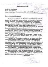 Stella Stevens-signed letter