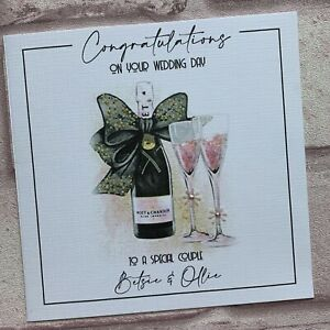 PERSONALISED Handmade  WEDDING DAY ENGAGEMENT ANNIVERSARY CARD Pink Champagne