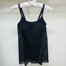 Women's 2 Pieces Lace Tankini Set Swimsuits High Waisted Size M Black NEW