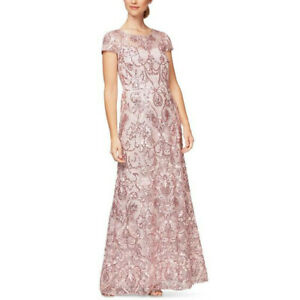 ALEX EVENINGS women Dress maxi Gown 14 mother of bride wedding embroidered