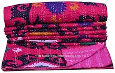 Indian Handmade Pink Suzani Kantha Quilt Bedspread Throw Cotton Gudari Blanket