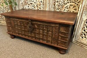 Indian Dowry Chest, Storage Trunk, Coffee Table, Furniture