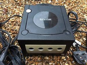 Black Nintendo GameCube Console With Leads Cables NOT TESTED