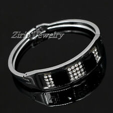 Men Womens Polished Stainless Steel Black CZ Crystal Charm Bangle Bracelet Cuff