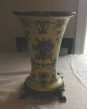 """ANTIQUE FRENCH  Yellow PORCELAIN Vase /CHINESE Mythical creatures 11"""" X 8"""""""