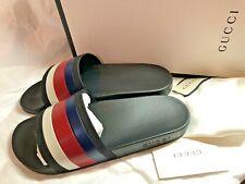 Gucci Unisex Shoes SILVIE Red/Blue/Wht Stripe Rubber Slide Size 7US/Men,10US/Wmn