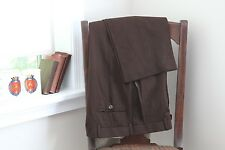 Ballin Comfort-eze 120s Wool Dress Pants Solid Dark Brown Pleated Trousers 34x32