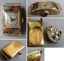 Montre femme OR massif email mécanique ART DECO enamel gold watch fonctionne