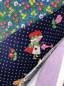 14 LB Lot VTG Cotton Fabric Scrap Remnant Craft Quilt Novelty Blue Purple Floral