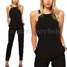 Women Summer Party Sleeveless Split Long Pants OL Playsuit Romper Slim Jumpsuits