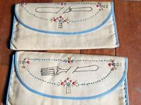 "Antique Embroidered ""Folks and Knifes Linen Silverware Holder Circa 1920's"