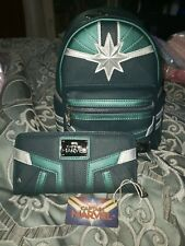 NWT Loungefly Marvel Captain Marvel Kree Faux Leather Mini Backpack and Wallet