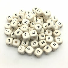 30Pcs Cube Alphabet Wood Beads Square Letter Bead DIY Baby Learning Toy Making