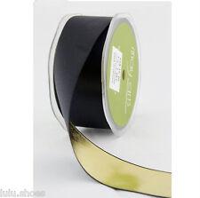 "Double Sided Satin Metallic May Arts Ribbon *1.5"" wide* BLACK & GOLD any length"