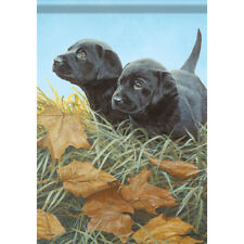 """New listing Black Lab Puppies House Flag 28"""" x 40"""" Double sided Flag by Carson"""