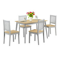 5 Pcs Mid Century Modern Dining Table Set 4 Chairs w/Wood Legs Kitchen Home