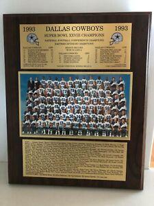 1993 DALLAS COWBOYS SUPER BOWL CHAMPIONS PLAQUE Troy Aikmen Emmitt Smith