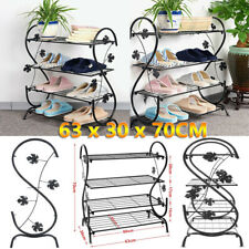4Tiers Shoe Rack Storage Metal Shelf Display Stand Organiser Cabinet Home Decor