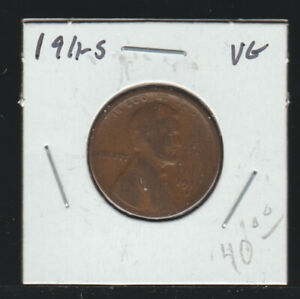 1911-S Lincoln Cent, VG
