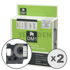"""2pk Black on Clear Label Tape Fit for DYMO 45800 D1 19mm 3/4"""""""