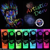 UV Glow Neon Face Body Paint 1X 50ml Black light Fluoro Party Glow Artistic Den
