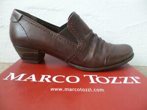 Marco Tozzi Décolleté Mocassino Pantofola IN Pelle Braun Nuovo