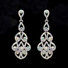 Silver Plated Aurora Clear Crystal AB Rhinestone Wedding Drop Dangle Earrings 59