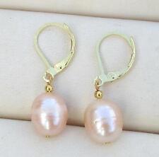 huge AAA+ pink south sea natural drop pearl earring 14k  hook