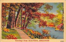 Greetings Malvern Arkansas~Fall Scene~1940 Postcard