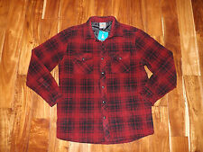 NWT Mens HAWKE & CO Red Black Plaid Quilted Lined Flannel L/S Size LT Large Tall