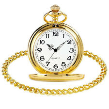 Gold Smooth Vintage Steel Pocket Watch Quartz Pendant And Chain Vintage