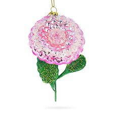 Pink Flower with Colorful Beads Blown Glass Christmas Ornament