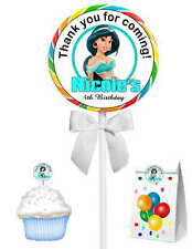 40 PRINCESS JASMINE BIRTHDAY PARTY LOLLIPOP STICKERS ~ goody bags, env seals
