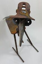 """Scrap Metal Yard Art BIRD With HAT 16 1/2""""   Statue Lawn Ornament Handcrafted"""