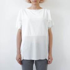 HOF115:COS Top bluse geschichtet weiß / Layered front top sheer white S