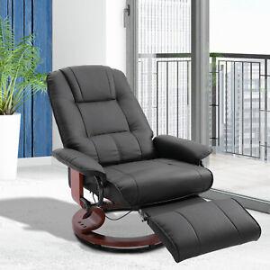 Ergonomic Office Recliner Sofa Chair PU Leather Plush Armchair Lounger Black