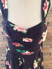 NWT 60's Retro - Tiki - Black Floral Dress - Mid Century - Size 14 - Full Skirt
