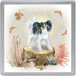 "Papillon Butterfly Dog Coaster ""Woodland Design"" Quality Gift by Starprint"