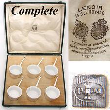 Antique French Palais Royal Marked 6pc SP & Porcelain Ramekin Set, Orig. Box