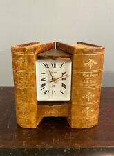 Rare 1950s Vtg 1960s Jaeger Electronic Hidden Desk Clock Book Motif Working