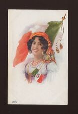 Italy glamour patriotic flag beauty in national dress c1900/10s? PPC
