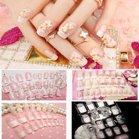 NEW 24Pcs French Bride Flowers False Nails Nail Art Design Nail Tips With Glue